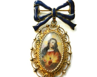 """Antique 925 Silver gold plated  Miniature Painted """"Sacred Heart of Jesus"""" Portrait dangle Brooch-enamelled bow & frame filigree-Art.828/3-"""