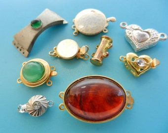 Lovely mix Vtg clasps for jewelry, 9 pieces from 1960s ideals delightful trinkets for restoration or new chic creations -- art.349 -