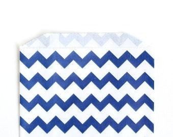 Navy Chevron Favor Bags, Navy Blue Chevron Goody Bags, Chevron Party Favors (20) - 5 x 7.5 inches