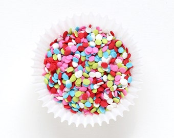 Lollipop Confetti Quin Sprinkles for Decorating Cupcakes, Cookies, Cakepops, Cakes (3 oz) - red, pink, blue, lime, white