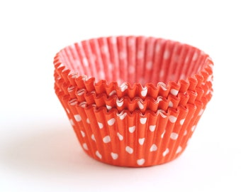 Orange and White Polka Dot Cupcake Liners, Orange Polka Dot Cupcake Liners, Halloween Cupcake Liners (50)