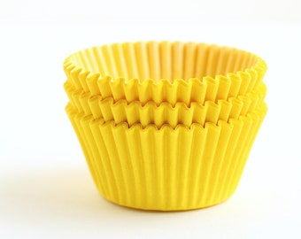 Yellow Cupcake Liners (50) Bright Yellow Baking Cups, Spring Cupcake Liners