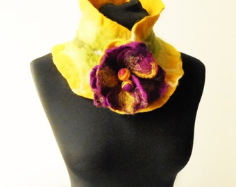 eco friendly felted yellow collar scarf, eco friendly