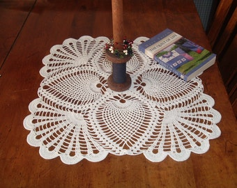 Square Doily in White Crochet