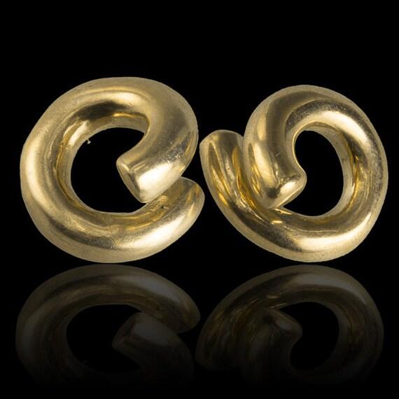 Decorative Ear Weights : Brass loop ear weight stretchers gauge earrings by