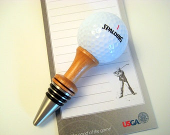 Wine Bottle Stopper Golf Ball On The Tee Cherry Wood Stainless Steel Barware
