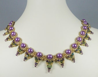 Woven Pearl Necklace Purple and Green