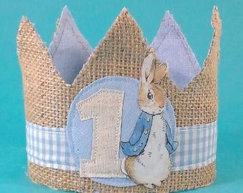 Shabby Chic Peter Rabbit birthday crown, first birthday crown, H302, birthday photo prop
