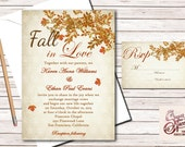 Rustic Wedding Invitation, Fall Wedding Invitations, Fall In Love Leaves Wedding Invitation