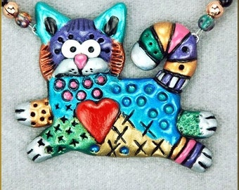 Hand Sculpted Kitty Cat Doodle Necklace by Critter Craft