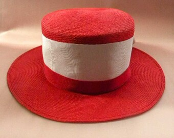 Women's Red and White Straw Summer Beach Dress Hat