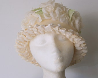 Vintage White Floral and Straw Cloche Derby Hat with a Cream Velvet Ribbon Ala Audrey Hepburn