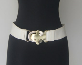 Vintage Two Tone White Leather Belt By Accurate