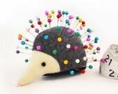 Pincushion, Hedgehog, upcycled wool, handmade, Heather Hyssop