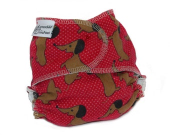 Cloth Diaper Fitted, One Size, Daschund Print Baby Diaper - Add Snaps, Hook and Loop, or Pins