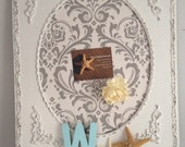 Shabby Chic Memoboard White Grey Damask Pin board magnetic Vintage Frame Ornate Original Unique Jewelry Organizer Display