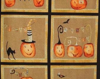 Cheeky Pumpkins 6 Jack O Lantern Blocks Halloween Studio E Fabric Panel