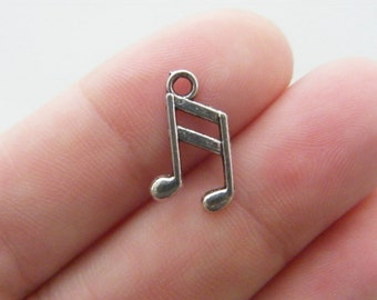 BULK 50 Music note charms antique silver tone MN8