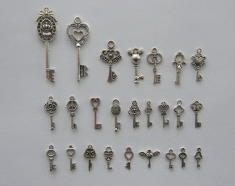 The Ultimate Key Charms Collection - 26 different antique silver tone charms