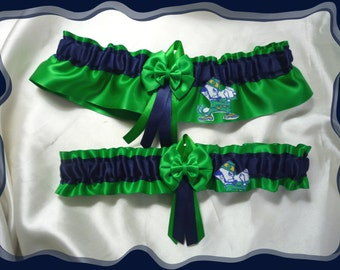 Green Satin Green Double Bow Wedding Garter Set Made with Notre Dame Fabric