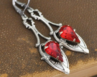 antiqued silver ruby jeweled earrings, VICTORIAN DAGGER, silver dagger earrings with Swarovski ruby color glass jewels