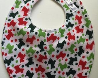 Red and Green Scottie Dog Baby Bib 238646526