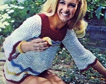 PDF DOWNLOAD Crochet PATTERN - Womens Chevron Blouse Boho Hippy Chic Retro 70s