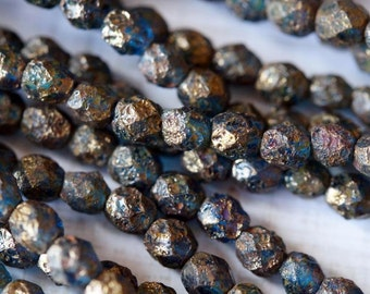 6mm Capri Blue Stone Copper Picasso Czech Glass Beads - Faceted Rounds - Fire Polished
