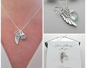 remembrance necklace, Custom Heart Pendant, Angel Wing, Personalized Birthstone, Gift For Friend, Gift For Mom, Mother's, Necklace Card