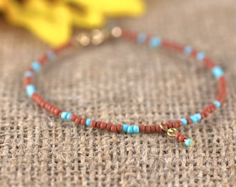Terracotta and Turquoise Seed Bead Bracelet, dangle, blue, red, layering bracelet
