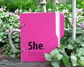 Pink Diary, Scrapbook, Journal with Introspective Writing Prompts, Recycled Paper - She Journal in Pink Flamingo