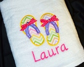 Personalized Towels for Kids - Personalized Beach Towels with Sandals / Flip-Flops - SALE Limited Time Only