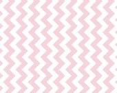 Manufactures Cut - Small Chevron Fabric in Baby Pink and White by Riley Blake Designs - 1 Yard- By the Yard