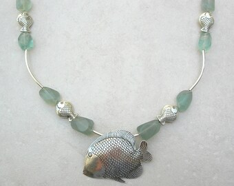 Thai Silver Mama Fish & Her Babies, Green Fluorite Beads, Sterling Silver Babies, Tubes and Clasp, Sea Treasures Necklace by SandraDesigns