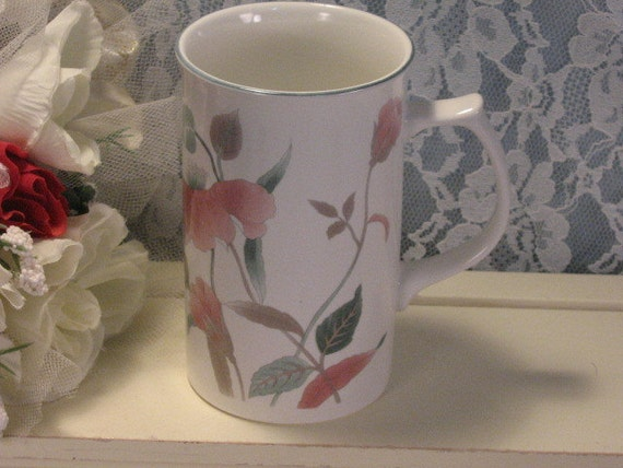 Vintage Mikasa China Silk Flowers Cappuccino Mug Tall Mug