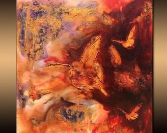 Original Modern Rich Textured Metallic Butterflies Abstract Painting by Henry Parsinia 24x24