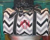 Monogrammed duffel bag, personalized duffel bag, quilted duffel bag