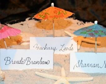 Beach Wedding Umbrella Escort Cards 1