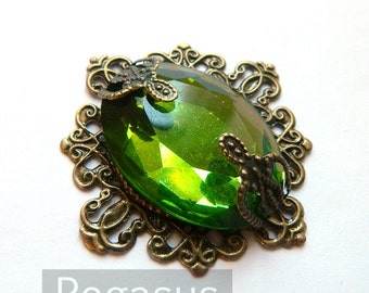 Emerald City Emerald Pendant with wisteria bronze flower (design 01)(1 Piece) Bronze Filigree Pendant Steampunk or Elven Costumes