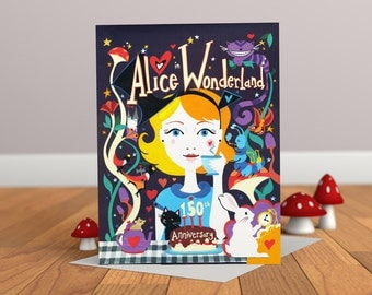 Alice in Wonderland Card - Cat Card - Rabbit Card