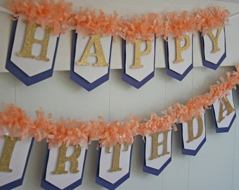 Happy Birthday Banner - Birthday Decoration - Birthday Garland - Birthday Photo Prop - Navy and Peach Banner