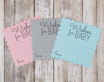 Wishes for Baby Cards - Baby Shower Wish Card - Blue, Pink, Grey - Boy or Girl - Baby Wish Cards - 4.5 Inches