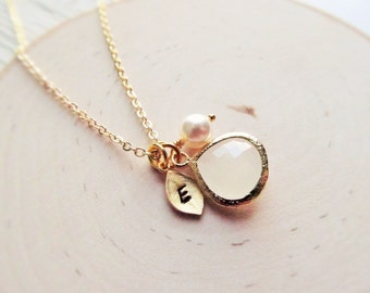 Gold Moonstone Necklace, June Birthstone Necklace, Initial, Jewel, Pearl Necklace, Gold Birthstone Jewelry, June Birthday, Pearl Jewelry