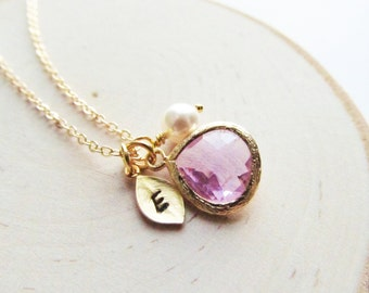 June Birthstone Necklace Gold, Alexandrite Necklace, Gold Initial, Jewel, Pearl, Gold Birthstone Jewelry, June Birthday, Gold Pearl Jewelry