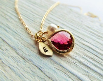 Ruby Necklace Gold, July Birthstone Necklace, Leaf Initial Necklace, Gold Birthstone Jewelry, July Birthday Gift, Simulated Ruby Jewelry
