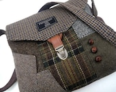 Recycled Crossbody Purse, Cross Body Purse, iPhone pocket,Recycled mens suit coat, Brown Green  Wool, Eco Friendly, Tote bag
