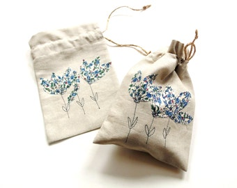 Gift bag, linen drawstring pouch, bridesmaids gift, summer bridal shower, blue appliqued flowers, summer wedding birthday small bag