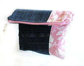 Denim clutch handbag, color block, pink, fold over bag, recycled denim blue jeans purse, zipper pouch, everyday clutch, foldover bag
