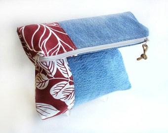 Denim foldover clutch, Autumn purse, recycled jeans, zipper pouch bag, blue jeans clutch