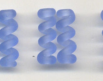 Tom's lampwork Satin (etched) frosted medium sky blue twist cylinder beads, drops, spacers 20mm, 2 beads, 1 pair, 97747-2